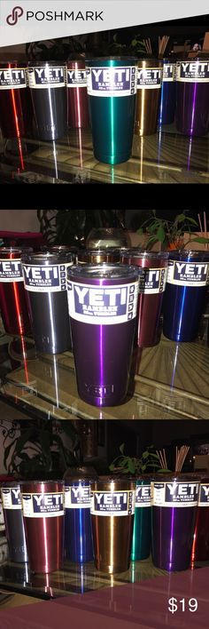 Yeti Metallic Rambler Tumbler METALLIC YETI Rambler Tumbler 20 Ounce- New -Unused -Authentic. One Tumbler $20 + shipping color choices Metallic dark blue, Med blue, Gold, Dark grey, Pink-Rose, Red, green, or purple. ASK FOR YOU COLOR HERE & I'LL CREATE A LISTING FOR YOU. 💜💙💚💛❤️ YETI Other