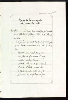 Catálogo monumental de los monumentos históricos y artísticos de la provincia de Jaén [Manuscrito] : formado en virtud de la R.O. de 30 de enero de 1913 / por Enrique Romero de Torres. Vol. 2: Texto.- [518] p. ms. numeradas del 345 al 863 sobre papel pautado y enmarcado por orla decorativa, [2] p. - Índice http://aleph.csic.es/F?func=find-c&ccl_term=SYS%3D001359489&local_base=MAD01