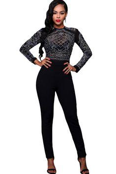 28d4b32badd Black Rhinestone Decor Long Sleeve Sexy Jumpsuit