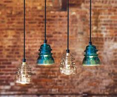 Decorating with Old Insulators | Glass insulators turned into pendant lights