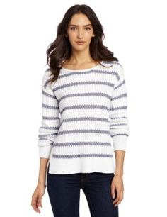 Calvin Klein Jeans Women's Petite Varigated Striped Pullover, White Combo, Small Calvin Klein Jeans. $79.50