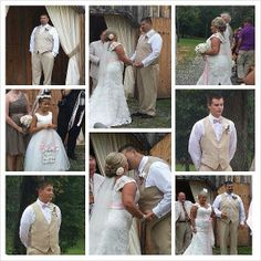 """A beautiful collage of pictures from Camilla Rudeseal Brown who said: """"Thank you for my beautiful wedding gown! I am so glad that I found your website:)"""" Here's her gown: http://www.outerinner.com/capped-sleeves-mermaid-wedding-gown-pd-05068-0.html"""