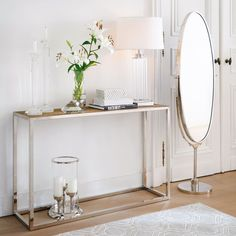 Console en orme reyclé et inox Rivoli Foyer Design, Entrance Table, House Entrance, Kingston, Consoles, Cheval Mirror, Interior Decorating, Interior Design, My Furniture