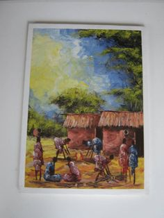 A personal favorite from my Etsy shop https://www.etsy.com/ca/listing/593528109/african-village-art-hand-painting-art