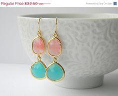 Vacation Sale - Gold Bridesmaid Earrings - Pink Grapefruit Earrings - Aqua Earrings - Gift for Her - Bohemian Earrings. $29.25, via Etsy.