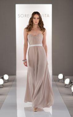 Floor-length tan bridesmaid dress by Sorella Vita in chiffon with grosgrain ribbon.
