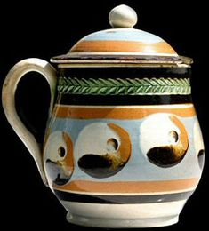 Mochaware - Mustard pot decorated with cat's eye and green glazed herringbone rouletting, 4