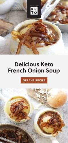 This keto French Onion Soup recipe is the perfect comfort food for those brisk wintry days. You can even double or triple this recipe and save yourself the trouble of trying to figure out dinner when you'd rather be relaxing. Keto Side Dishes, Side Dish Recipes, Diet Recipes, Healthy Recipes, Diet Tips, Lunch Recipes, Healthy Soup, Onion Soup Recipes, Low Carb French Onion Soup Recipe