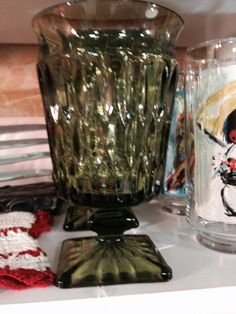 Green Indiana glass water goblets