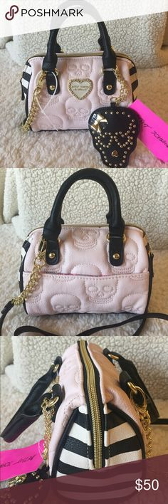 "🌺NWT! BETSEY JOHNSON SKULL MINI SATCHEL/XBODY BAG BRAND NEW! BETSEY JOHNSON SKULL MINI SATCHEL XBODY BAG-Approximate Measurements are 7"" W X 6"" H X 2 1/2"" D, & a detachable strap with a drop of 23"", & handle drop 4""... Betsey Johnson Bags Mini Bags"