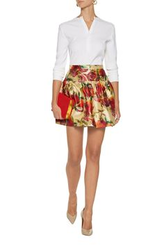 Dolce & GabbanaFloral-print silk-twill skirtback