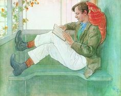 "Carl Larsson (1835-1919), ""Esbjörn Reading on the Veranda"""