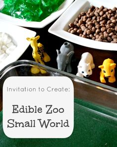 Edible Zoo Small World and Sensory Play {Discover & Explore: Zoo and Wild Animals Theme Linky)