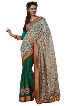 Cream designer party wear saree online from Easysarees