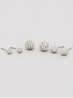 NWT 3 pair clear crystal pave ball stud earrings set lot Gold 6 mm 8 mm 10 mm #EarringsOfTheDay #DropDangle