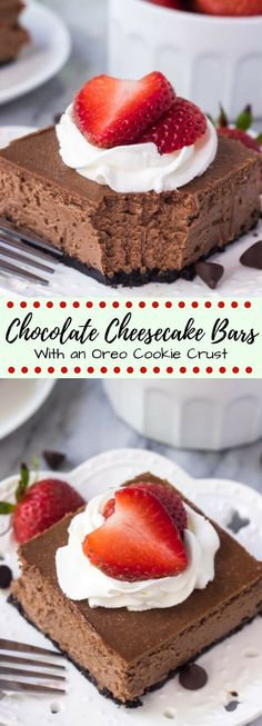 These chocolate cheesecake bars are the smoothest,…