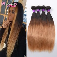Ombre Peruvian Virgin Hair Straight 4 Bundles Ombre Straight Hair Weave 8A Grade Virgin Unprocessed Ombre Human Hair Extensions -- Locate the offer simply by clicking the image