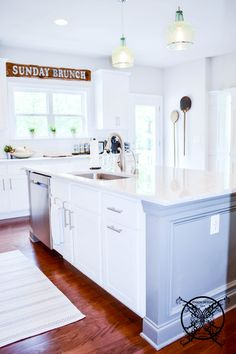 Want to Upgrade Your Kitchen Island? This is a super quick, inexpensive, easy weekend project, that provides a lot of character to an otherwise basic kitchen island by adding picture frame molding. Kitchen Island Molding, Kitchen Island Upgrade, Diy Kitchen Cabinets, Painting Kitchen Countertops, White Countertops, Basic Kitchen, Kitchen White, Kitchen Ideas, Picture Frame Molding