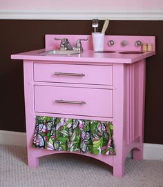 """Play Kitchen"" made from an old nightstand! SO COOL"