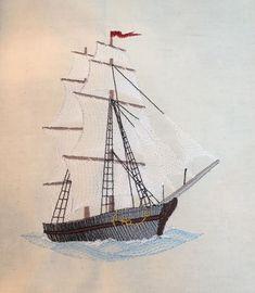 Sea ship free embroidery design