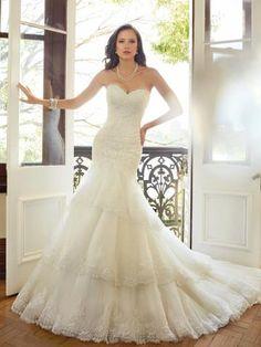 Robes de mariée femme sirène en dentelle avec cristal lacets brillant