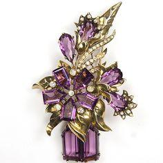 Eisenberg Original Sterling Amethyst Vase of Flowers Pin Clip