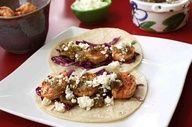 Tomatillo Shrimp Tacos with Honey - Lime Slaw!! :3