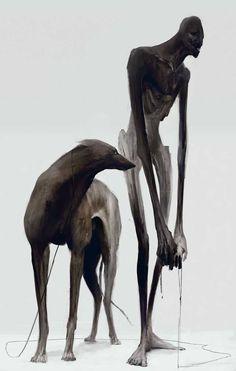 walking the dog 7 by juho laitila Sparrow Volume Kent Williams Dark Creatures, Mythical Creatures, Shadow Creatures, Arte Horror, Horror Art, Dark Fantasy Art, Dark Art, Character Art, Character Design