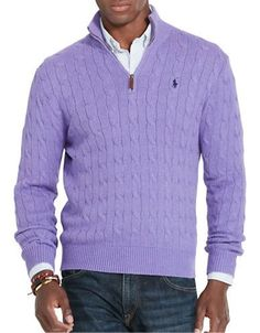 71fe107fec3 Polo Ralph Lauren Cable-Knit Mockneck Sweater Men s Saffire Purple Sma Half  Zip Sweaters