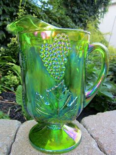 Indian Vintage Rare Green Carnival Glass by wasminenowyours, $55.00
