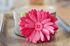 Chrysanthemum Felt Flower Hair Clip in Hot Pink - You Choose the Backing by PrettyinPosies on Etsy on Etsy, £7.50