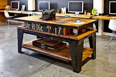 incredible reclaimed worktable—parliament design