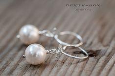 Pearl Earrings Bridal Earrings Swarovski Pearl by DevikaBox