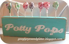 Potty pop training block. Cute idea for rewards they can see!