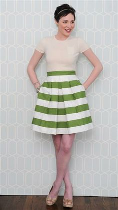 green striped skirt.