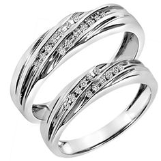 1/7 Carat T.W. Diamond His And Hers Wedding Band Set 14K White Gold