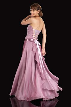 Pretty prom dress with fitted bodice, ribbon laced back and dramatic tiered skirt. (Sizes: UK 8 - 16 / £180)