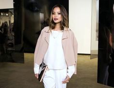 Le Fashion Blog -- Jamie Chung with burgundy lipstick, a blush pink leather moto jacket, ribbed sweater and clutch