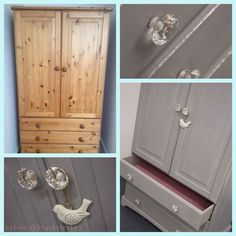 Pine wardrobe restyled using #anniesloan chalk paint blended to our own shade of grey www.facebook.com/bobbinsandbrushstrokes