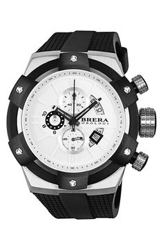 Brera 'Supersportivo' Chronograph Silicone Strap Watch, 48mm available at #Nordstrom