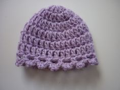 Ravelry: Purple Picot Hat pattern by Myshelle Cole.  Preemie (20-22 weeks).  Baby yarn.  (Used light weight WW with a E hook.)