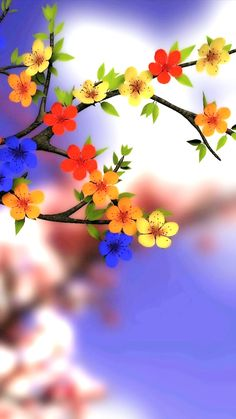 Colorful Tree Flowers Wallpaper