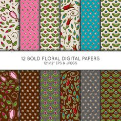 Floral Digital Paper, Flower Seamless pattern, Scrapbook paper, digital paper pack, digital background, Vector Graphics