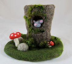 Tree Stump Needle Felted Play Mat and Creatures. $50.00, via Etsy.