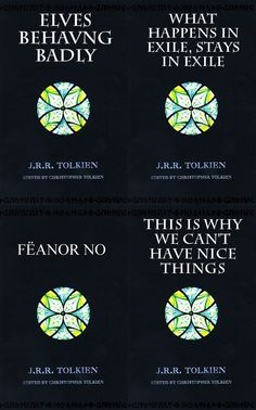 """""""Alt titles of The Silmarillion. Feanor NO is quite possibly the most apt one… Aragorn, Legolas, Das Silmarillion, Concerning Hobbits, J. R. R. Tolkien, One Ring, What Is Tumblr, The Hobbit, Hobbit Hole"""
