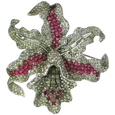Extraordinary Marcel Boucher Early Orchid Brooch | From a unique collection of vintage brooches at https://www.1stdibs.com/jewelry/brooches/brooches/