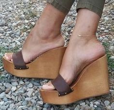 Tan on Tan Wooden Sandals, Wooden Clogs, Beautiful High Heels, Sexy High Heels, Womens High Heels, Wedge Mules, Heeled Mules, Feet Soles, Only Shoes