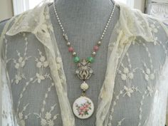 Pendant Necklace Assemblage Guilloche Locket by 58Diamond on Etsy, $118.00