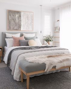 67 Great Ideas For Cozy Bedroom Decor 21 - myhomeorganic Neutral Bedroom Decor, Room Ideas Bedroom, Home Decor Bedroom, Adult Bedroom Ideas, Cozy Master Bedroom Ideas, Feminine Bedroom, Bedroom With White Walls, Gray Bedroom Furniture, Cozy Bedroom