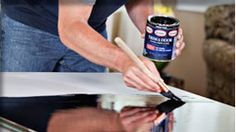 Using this on our dining room table.  Glidden Trim & Door Paint. It's a new gel-like paint that is self leveling, so it erases most of your brush strokes/drips. It also dries to a nice, durable, shiny finish